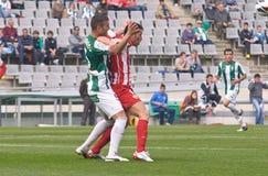 科多巴,西班牙- 3月17 :阿尔曼多Lozano W (5)在比赛同盟科多巴期间的行动(W)对市政Stadiu的阿尔梅里雅(r) (4-1) 库存照片