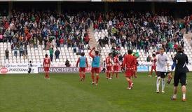 科多巴,西班牙- 3月17 :阿尔梅里雅的球员在比赛同盟科多巴期间的(W)对阿尔梅里雅(r) (4-1) 免版税图库摄影
