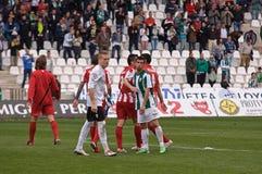 科多巴,西班牙- 3月17 :阿尔贝托加西亚W (1)在比赛同盟科多巴期间的行动(W)对阿尔梅里雅(r) (4-1) 库存图片