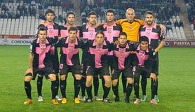 科多巴,西班牙- 3月30 : 在行动的球员最初的对准线在比赛同盟科多巴期间(W)对Munici的萨瓦德尔(b) (3-0) 图库摄影