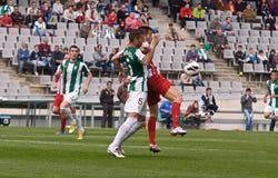 科多巴,西班牙- 3月17 : 查尔斯Dias Oliveira R (9)在比赛同盟科多巴期间的行动(W)对阿尔梅里雅(r) (4-1) 库存图片