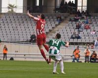 科多巴,西班牙- 3月17 : 查尔斯Dias Oliveira R (9)在比赛同盟科多巴期间的行动(W)对阿尔梅里雅(r) (4-1) 免版税库存图片