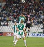 科多巴,西班牙- 3月30 : Eneko行动的费尔南德斯B (11)在比赛同盟科多巴期间(W)对萨瓦德尔(b) (3-0) 库存照片