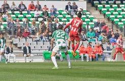 科多巴,西班牙- 3月17 : Iago在行动的Falqu� R (14)在比赛同盟科多巴期间(W)对阿尔梅里雅(r) (4-1) 免版税库存照片