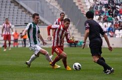 科多巴,西班牙- 3月17 : Iago在行动的Falqu� R (14)在比赛同盟科多巴期间(W)对阿尔梅里雅(r) (4-1) 图库摄影