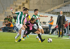 科多巴,西班牙- 3月30 : Manuel行动的Gato B (14)在比赛同盟科多巴期间(W)对萨瓦德尔(b) (3-0) 免版税图库摄影