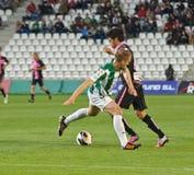 科多巴,西班牙- 3月30 : Ulises Alejandro D�vila B (9)在比赛同盟科多巴期间的行动(W)对萨瓦德尔(b) (3-0) 图库摄影