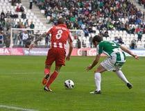 科多巴,西班牙- 3月17 :Aleix维达尔Parreu R (8)在比赛同盟科多巴期间的行动(W)对阿尔梅里雅(r) (4-1) 免版税库存图片