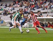 科多巴,西班牙- 3月17 :Aleix维达尔Parreu R (8)在比赛同盟科多巴期间的行动(W)对阿尔梅里雅(r) (4-1) 免版税库存照片