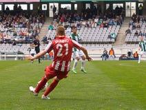 科多巴,西班牙- 3月17 :Andri�n哈维尔行动的Gunino R (21)在比赛同盟科多巴期间(W)对阿尔梅里雅(r) (4-1) 免版税库存图片
