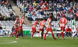 科多巴,西班牙- 3月17 :Hern�n Dar�o Pellerano R (4)在行动比赛同盟科多巴(W)对阿尔梅里雅(r) (4-1) 库存图片