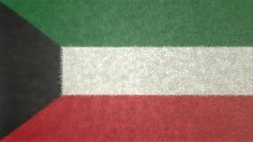 科威特的旗子的原始的纹理3D图象 免版税库存图片