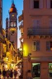 科孚岛市,希腊- 2011年7月6日:T的圣徒Spyridon教会  免版税库存图片