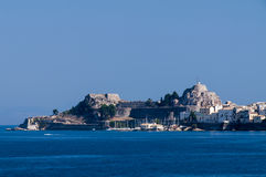 科孚岛海岛在夏天 免版税库存图片