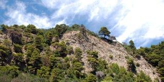科孚岛海岛的山风景  免版税库存图片