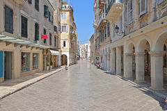 科孚岛海岛老镇在希腊 库存图片