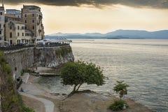 科孚岛海岸线  免版税图库摄影