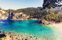 科孚岛海岸 免版税库存照片