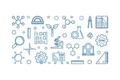 科学、技术、工程学和算术概述横幅 向量例证
