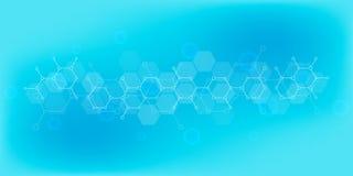科学和创新技术抽象背景  与分子结构和化学制品的技术经验 库存例证