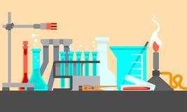 科学和实验室材料和工具在静物画构成 平的设计观念 也corel凹道例证向量 库存图片