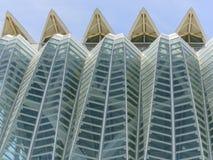科学和艺术巴伦西亚市:与独特的几何04的未来派大厦 免版税库存照片