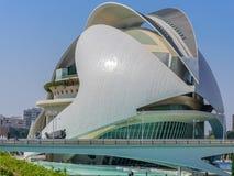 科学和艺术巴伦西亚市:与独特的几何08的未来派大厦 库存图片