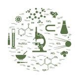 科学品种风格化传染媒介的象,教育元素:显微镜、烧瓶、惯例,杵和其他 库存例证