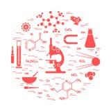 科学品种风格化传染媒介的象,教育元素:显微镜、烧瓶、惯例,杵和其他 向量例证