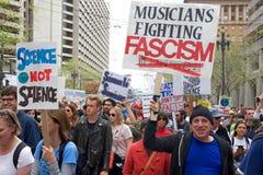 科学在街市旧金山事关抗议游行 库存图片