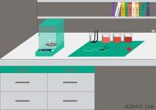 科学实验室传染媒介 化工实验室,化工玻璃器皿 例证,平的设计 库存图片