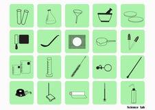 科学实验室传染媒介象集合,化工象设置了,化工实验室,化工玻璃器皿 也corel凹道例证向量 免版税库存图片