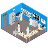 科学实验室内部有家具等轴测图 向量 免版税库存照片