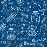 科学实验无缝的样式 免版税库存图片