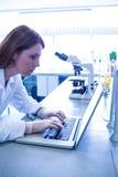 科学家与一台膝上型计算机一起使用在实验室 库存照片