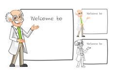 科学家与欢迎胳膊的漫画人物 免版税库存照片
