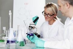 科学家在化工实验室 免版税图库摄影