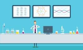 科学家在实验室实验室概念研究 向量例证