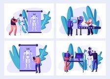 科学家在实验室集合创造靠机械装置维持生命的人 创造阶段过程的机器人 做硬件和软件,机器人学工程师 皇族释放例证
