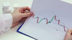 科学家审查的图表弯曲,开展医学研究,比较数据 股票视频