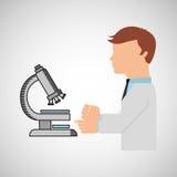 科学家工作者研究测试显微镜图表 免版税库存照片