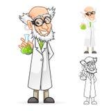 科学家拿着烧杯的漫画人物感到伟大 免版税库存照片