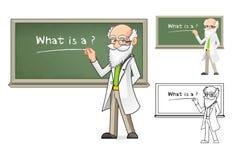 科学家拿着白垩的漫画人物 免版税库存图片