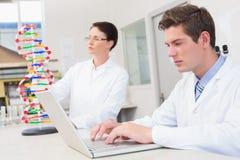 科学家殷勤地与膝上型计算机和别的一起使用与脱氧核糖核酸模型 库存图片