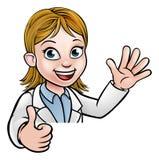 科学家漫画人物赞许标志 库存图片