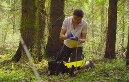 科学家生态学家在采取青苔的样品森林里 免版税库存照片