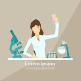 科学家运作的研究化学制品实验室 向量例证