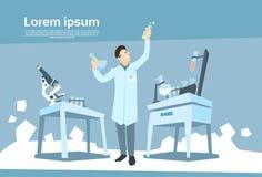 科学家运作的研究化学制品实验室 库存例证