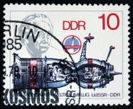 科学家阿尔伯特・爱因斯坦太空飞船和画象,大约1979年 免版税库存图片