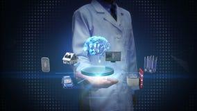 科学家,工程师开放棕榈,设备连接数字式脑子,人工智能的传感器象 事互联网  影视素材